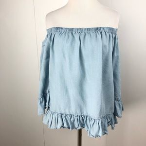 JANE AND DELANCEY Chambray Blouse Ruffles Size Med